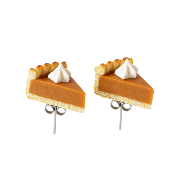 Handmade Pumpkin Pie Stud Earrings, Thanksgiving Gift