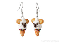 PolinaCreations White Koala Ice Cream Waffle Cone Earrings, Koala Earrings Wildlife Australian animal Jewelry Polymer Clay Fake Food Earrings Pet Lover Gift Vanilla ice cream jewellery Polina creations