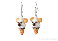 Handmade White Koala Ice Cream Waffle Cone Earrings