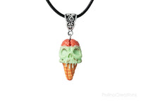 PolinaCreations Skull Ice Cream Cone Necklace, Spooky Skull Mint Chocolate Chip Ice Cream Waffle Cone Necklace Brain Jewelry Blood Necklace Skull Jewelry ice cream jewelry ice cream charm polymer clay jewelry fake food jewelry miniature food jewelry mini food charm mint green jewelry mint necklace mint charm brain charm skull charm blood charm polina creations gift for her gift for woman for girl