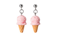 Polinacreations Handmade Strawberry Ice Cream Waffle Cone Dangle Stud Earrings, Ice Cream Earrings, Pink Ice Cream Earrings, Ice cream Jewelry Cute earrings polymer clay miniature fake food jewelry pink studs