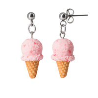 Polinacreations Handmade Strawberry Ice Cream Waffle Cone Dangle Stud Earrings, Ice Cream Earrings, Pink Ice Cream Earrings, Ice cream Jewelry Cute earrings polymer clay miniature fake food jewelry