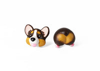Handmade Tri-Color Corgi Dog Stud Earrings