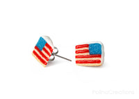 Handmade American Flag Cake Stud Earrings, 4th of July Gift