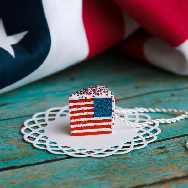 Handmade American Flag Cake Necklace, 4th of July Gift