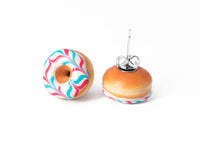 PolinaCreations Handmade Jewelry White Donut Stud Earrings With Pink & Blue Stripes Donut Stud Earrings Doughnut Earrings Fake Food Jewelry Miniature food jewelry polymer clay earrings circle earrings hypoallergenic jewelry Polina creations mini food earrings cute earrings