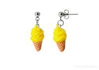Handmade Yellow Soft Ice Cream Stud Dangle Earrings
