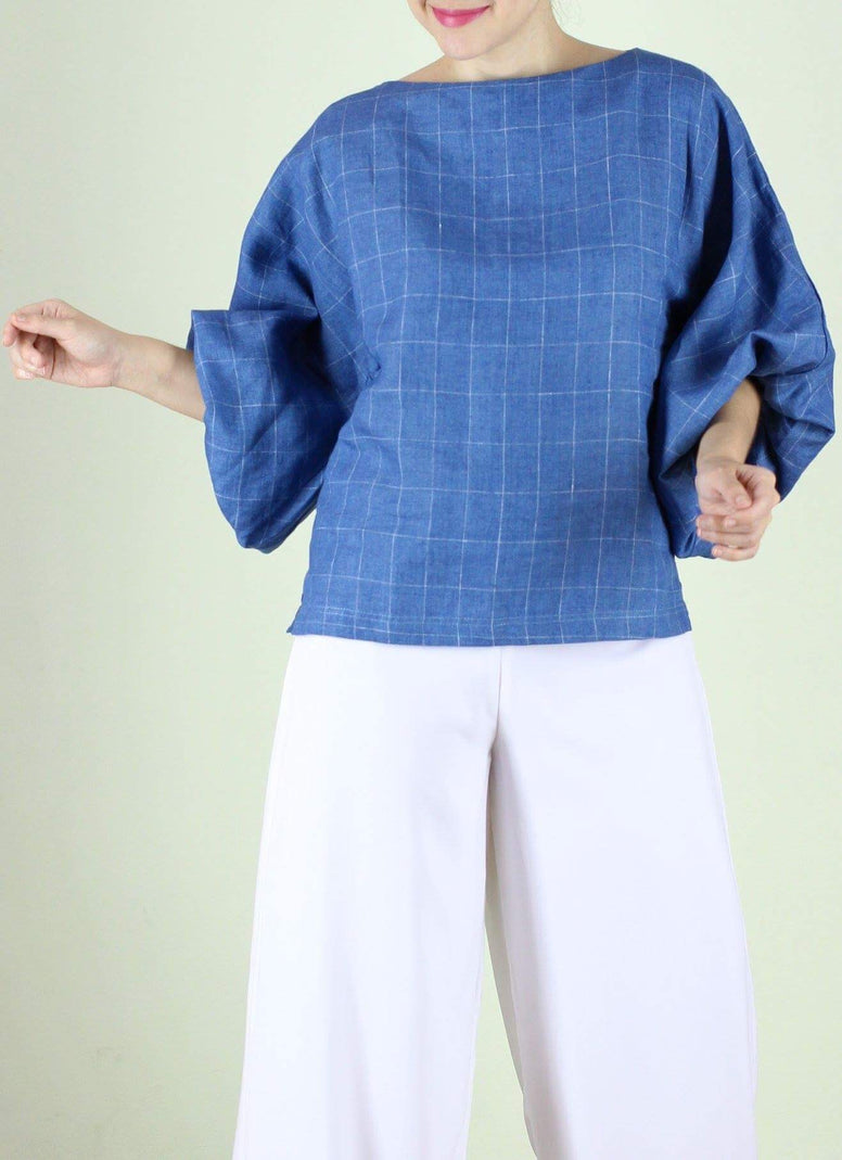 Paola Linen Top in Blue