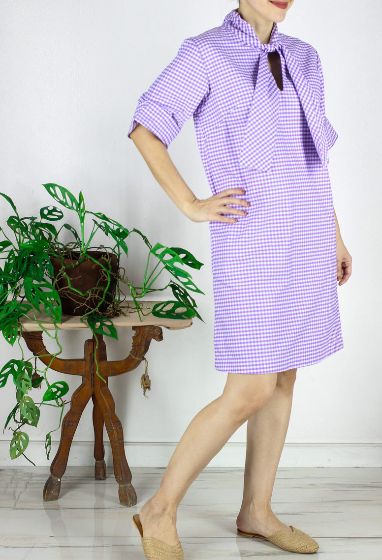 Eugene Dress in Gingham Violet