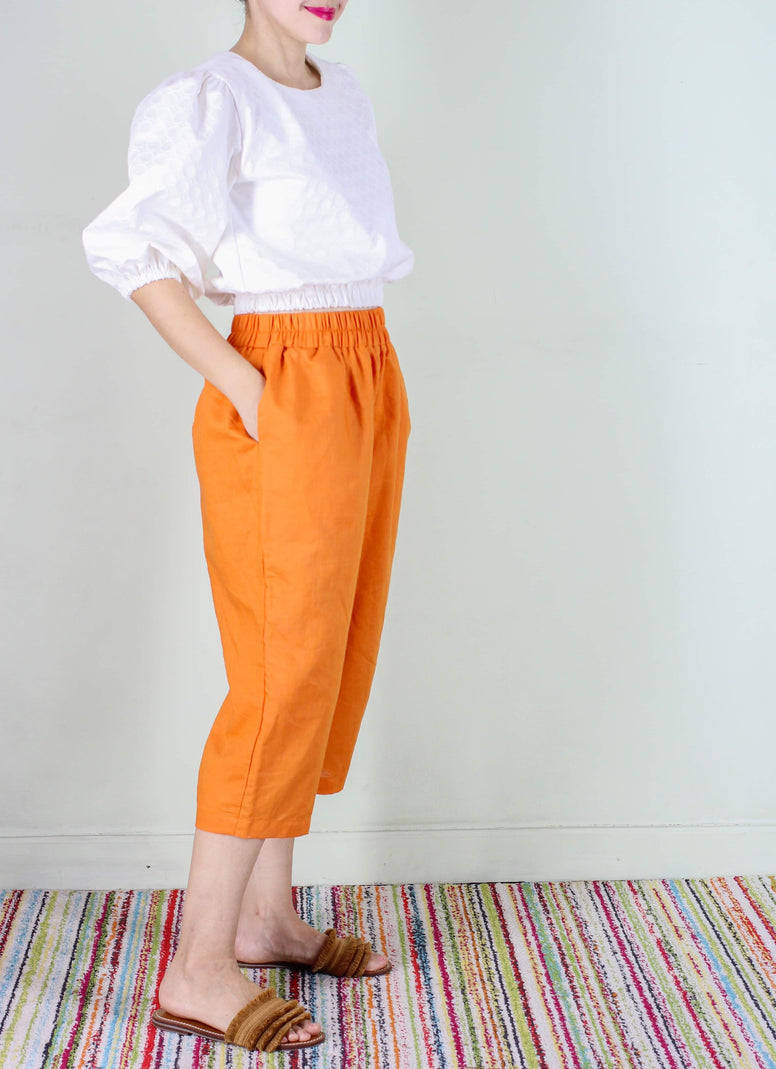 Frida Linen Pants in Orange