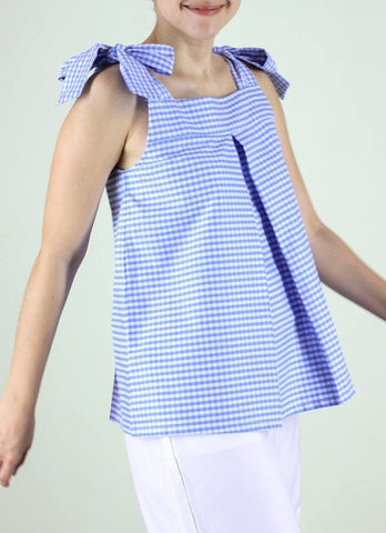 Mila Top in Blue Gingham