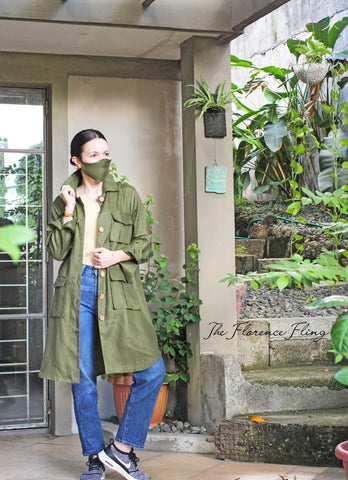 Travel Shirtdress & Mask (TSM) in Army Green