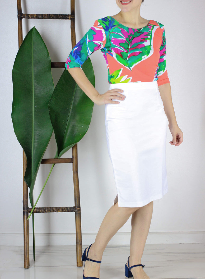 Santana Pencil Skirt in White