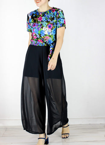 Stephan Chiffon Wide Leg Pants in Black