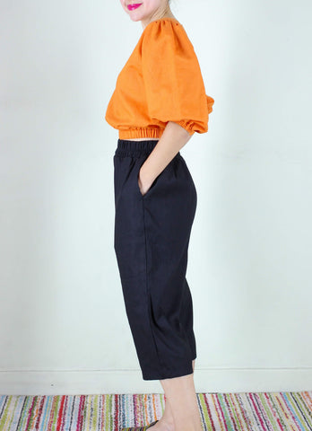 Frida Linen Pants in Black