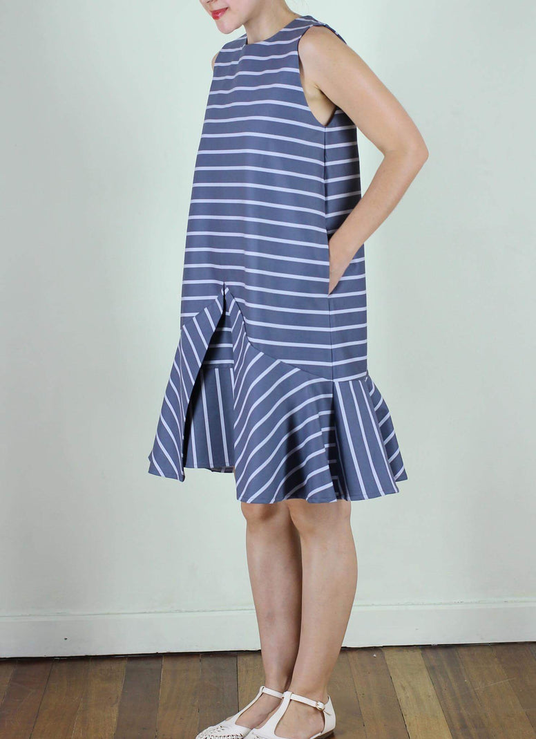 Cairo Shift Dress in Blue Grey Stripes