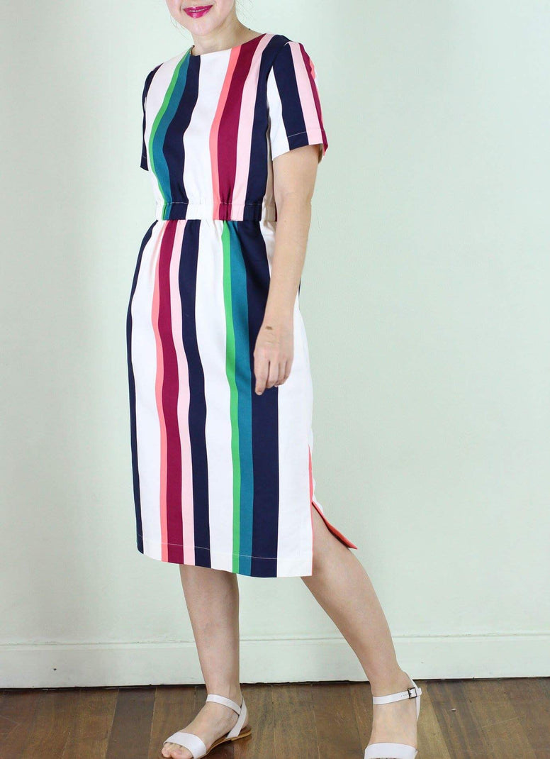 Lewis Dress in Colored Stripes