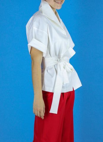 Sicily Button-Down Top in White