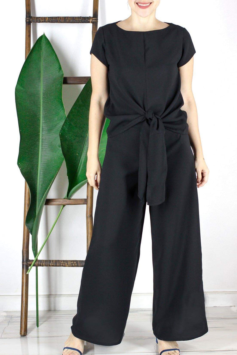 Lino Wide-leg Pants in Black
