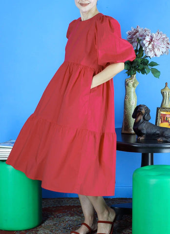 Tamara Tiered Dress in Red