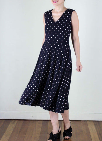 Alberto Ballerina Dress in Black Polka