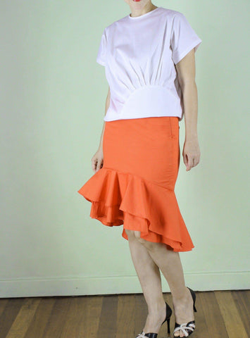Ricarda Ruffle Skirt in Orange