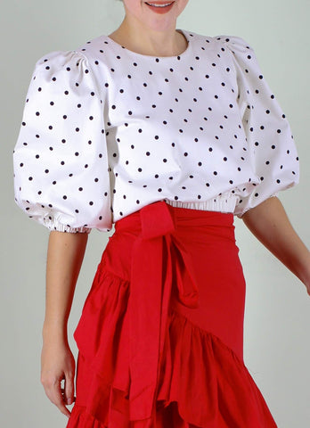 Archie Top in White & Black Polka