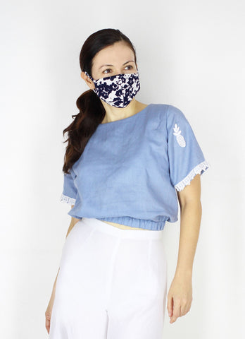 Henry Top in Denim Blue (with mask)