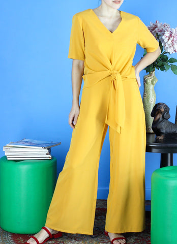 Lino Wide-Leg Pants in Golden Mustard