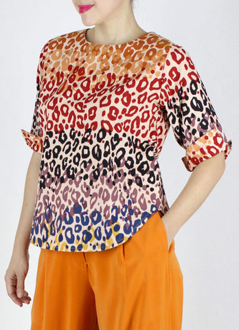 Frida Top in Rainbow Animal Print