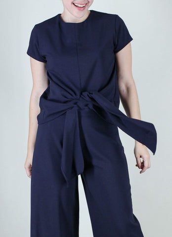 Emilien Front-Tie Top in Navy