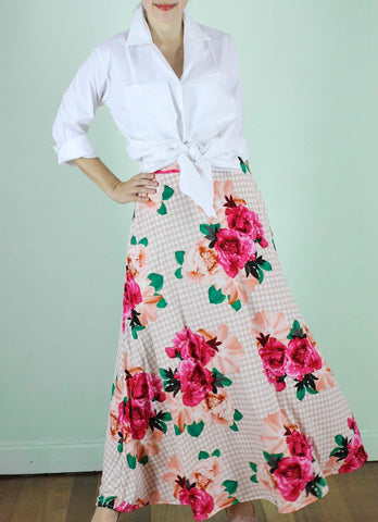 Rooney Maxi Skirt in Floral Gingham