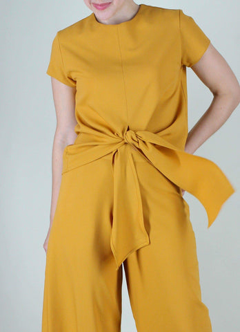 Emilien Front-Tie Top in Mustard