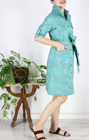 Clara Safari Dress in Green Paint Splash