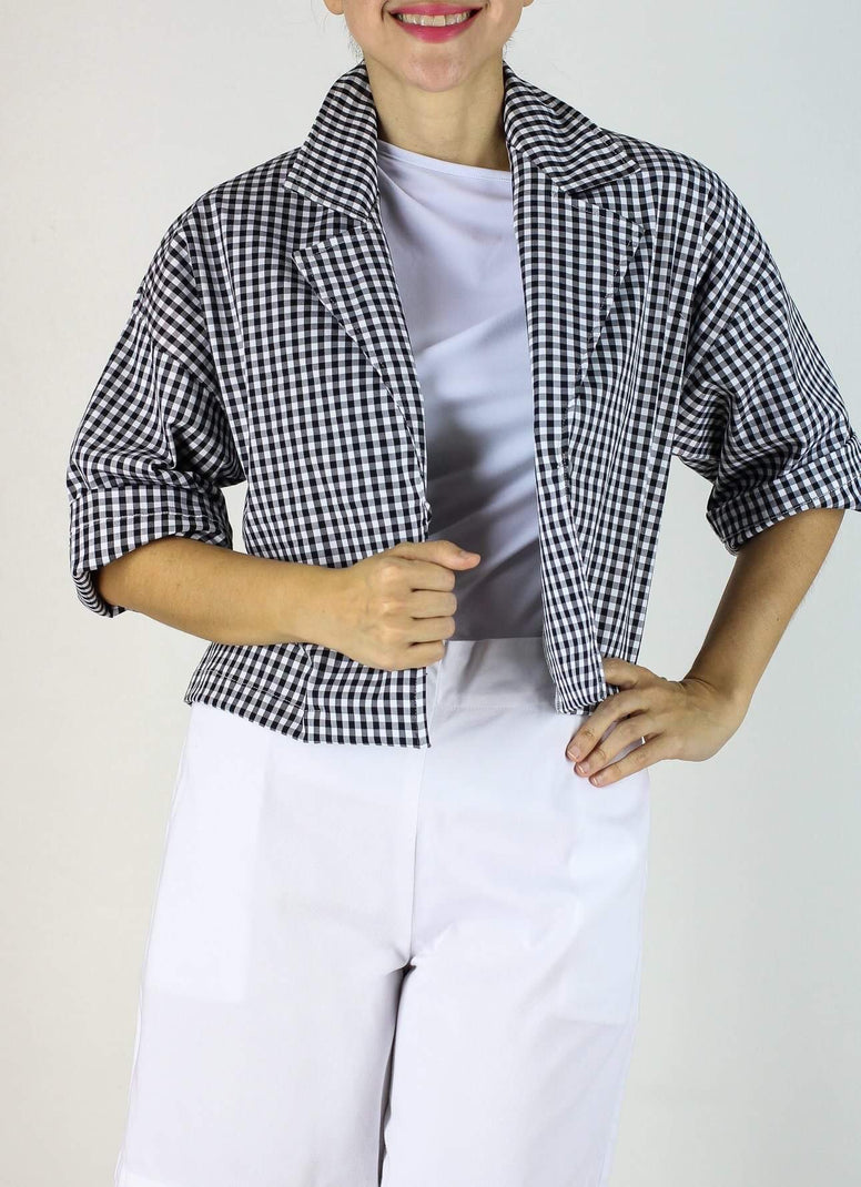 Fynn Bolero in Black & White Gingham