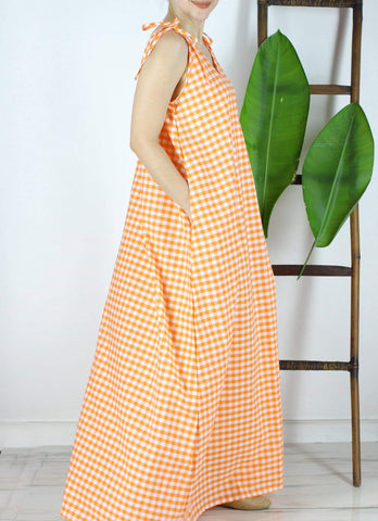 Antonella Maxi Dress in Orange Gingham
