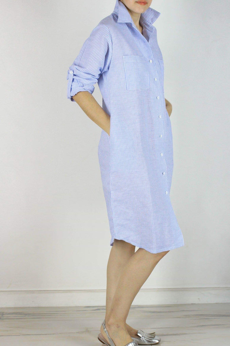 SOLD OUT Memphis Shirtdress in Blue Stripes