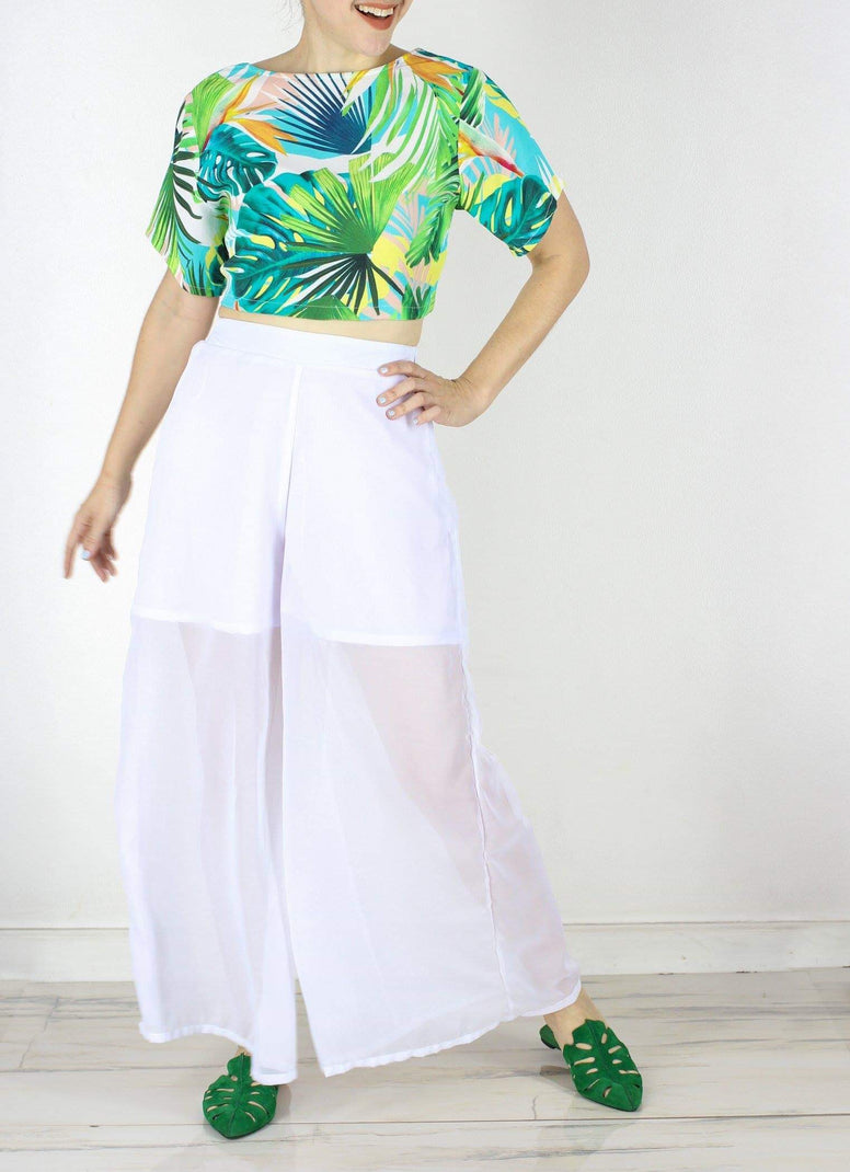 Stephan Chiffon Wide Leg Pants in White