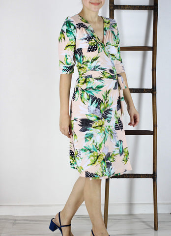 Diane Wrap Dress in Garden Polka