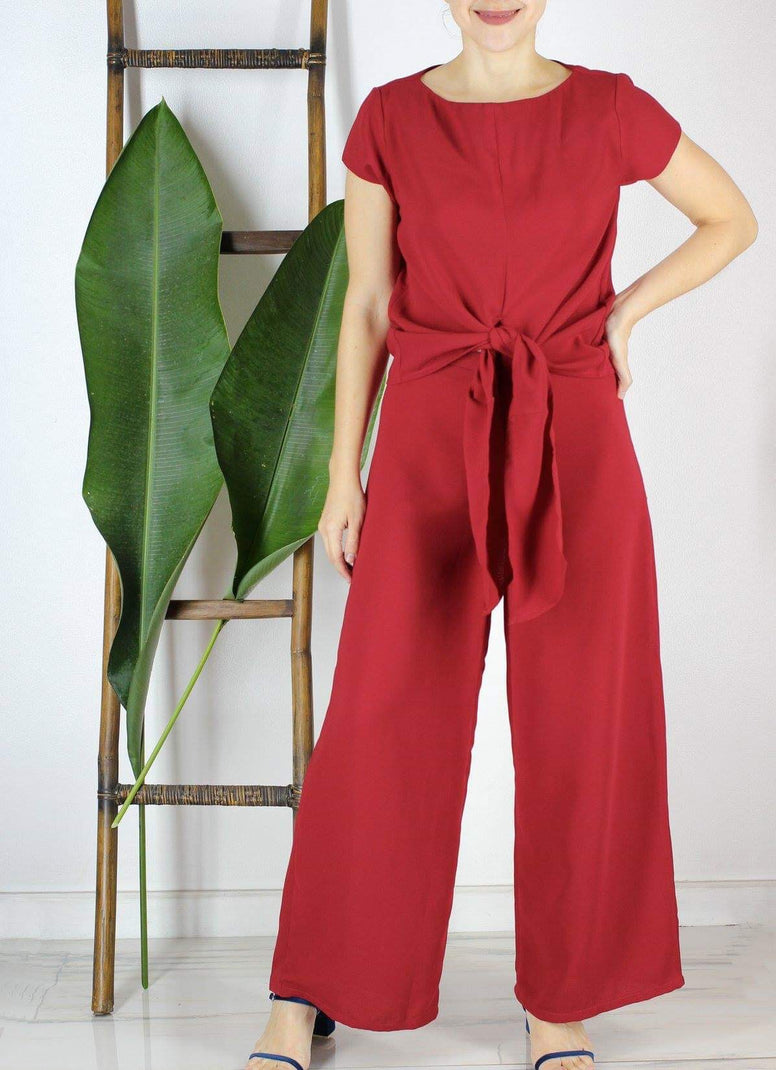Lino Wide-Leg pants in Red