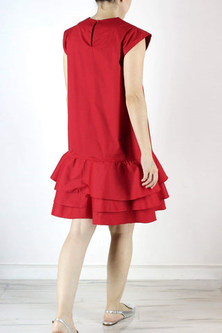 Rome Dress in Holiday Red