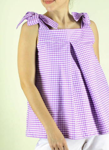 Mila Top in Lavander Gingham