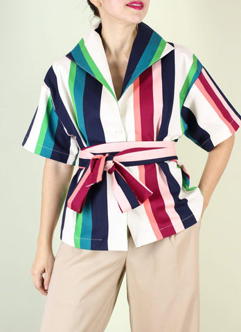 Sicily Top in Colored Stripes