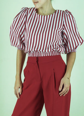 Archie Top in Red Stripes