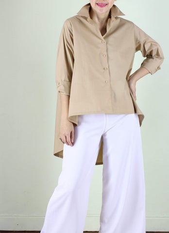Catalina Button Down Top in Beige