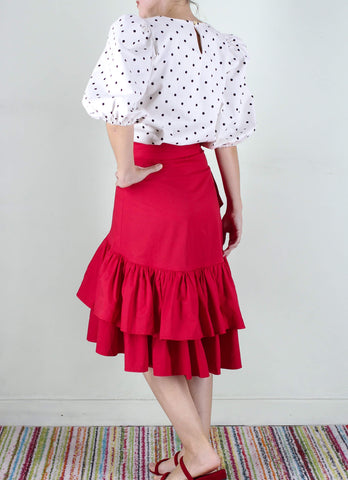 Elberta Ruffled Wrap Skirt in Red