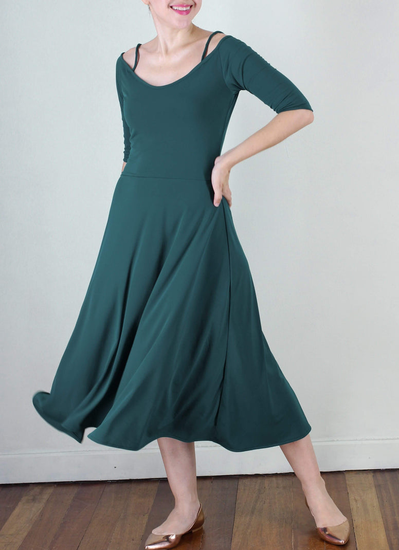 Albertito Ballerina Dress in Emerald