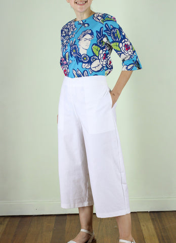 Frida White Cropped Pants