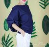 Paola Linen Top in Navy