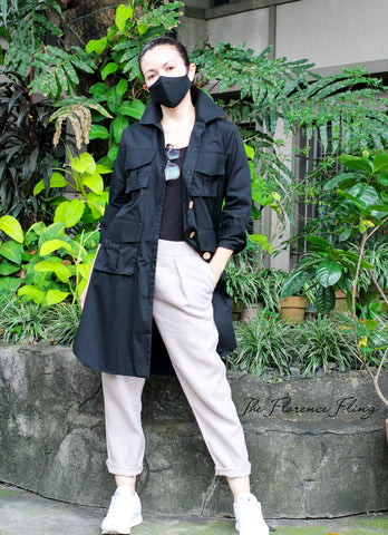 NEW COLOR! Travel Shirtdress & Mask (TSM) in Black